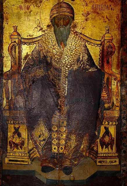 Спиридон Тримифунтский поддерживает молящихся